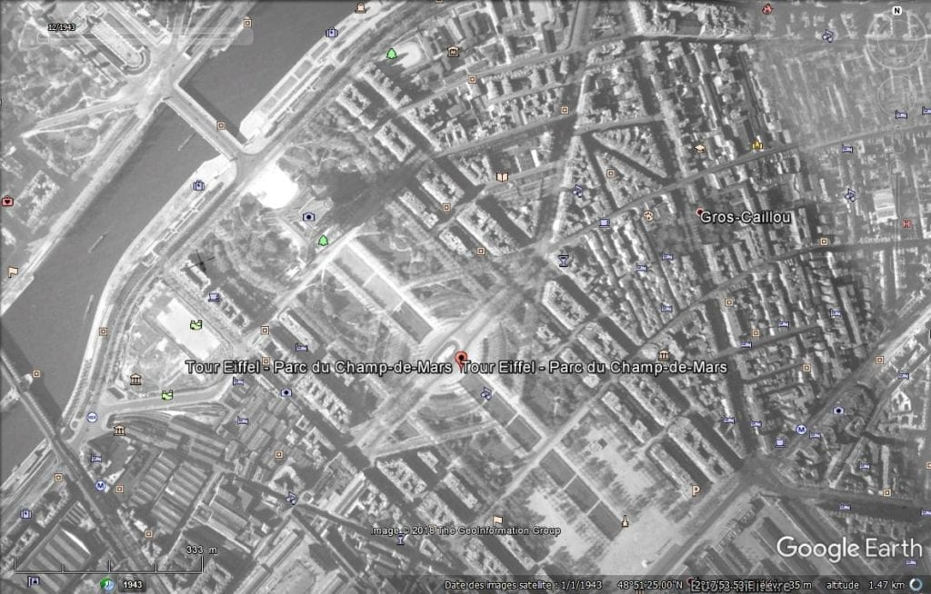 Google Earth Paris Champ de Mars 1943